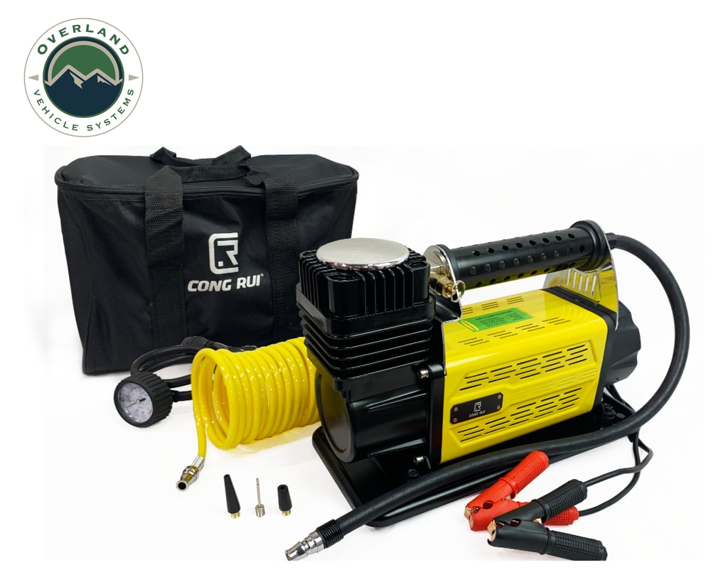 Overland Vehicle Systems Portalble Air Compressor System 5.6 CFM With Storage Bag, Hose and Attachments Universal