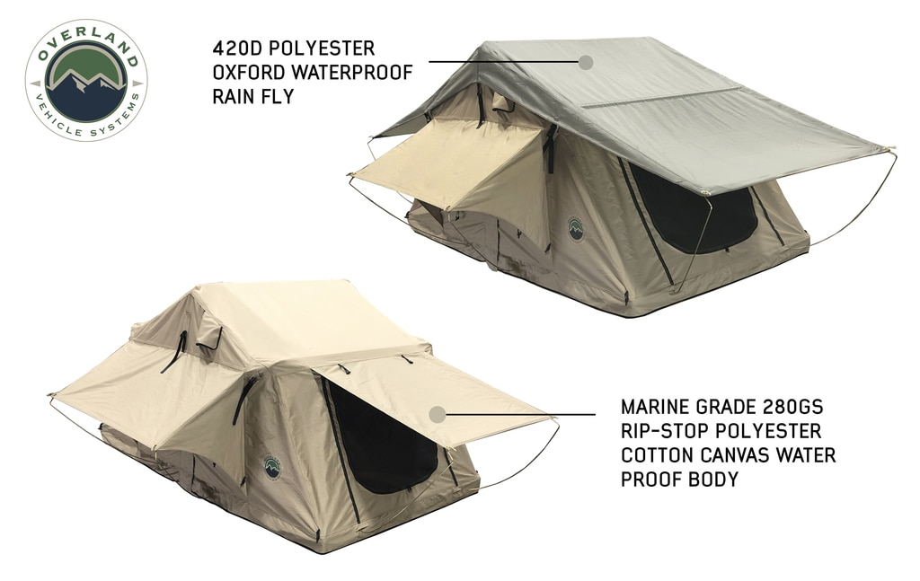Overland Vehicle Systems Roof Top Tent 3 Person with Green Rain Fly TMBK