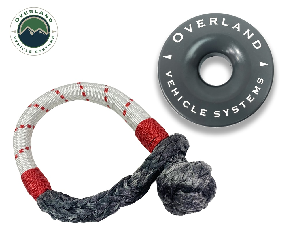 Overland Vehicle Systems 23 Inch Soft Shackle 7/16 Inch Diameterќ Combo Pack 41,000 lb and 4.0 Inch Recovery Ring