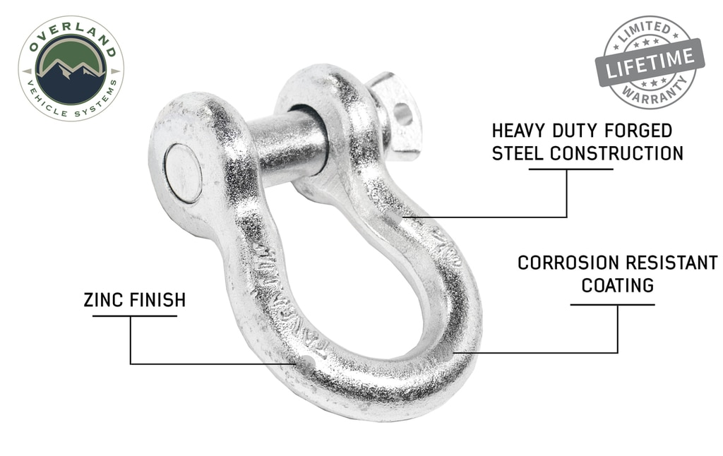 Overland Vehicle Systems Recovery Shackle 3/4 Inch 4.75 Ton Steel Zinc