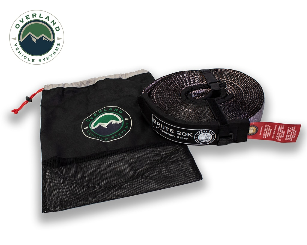 Overland Vehicle Systems Tow Strap 20,000 lb 2 Inch x 30 Foot Gray With Black Ends & Storage Bag