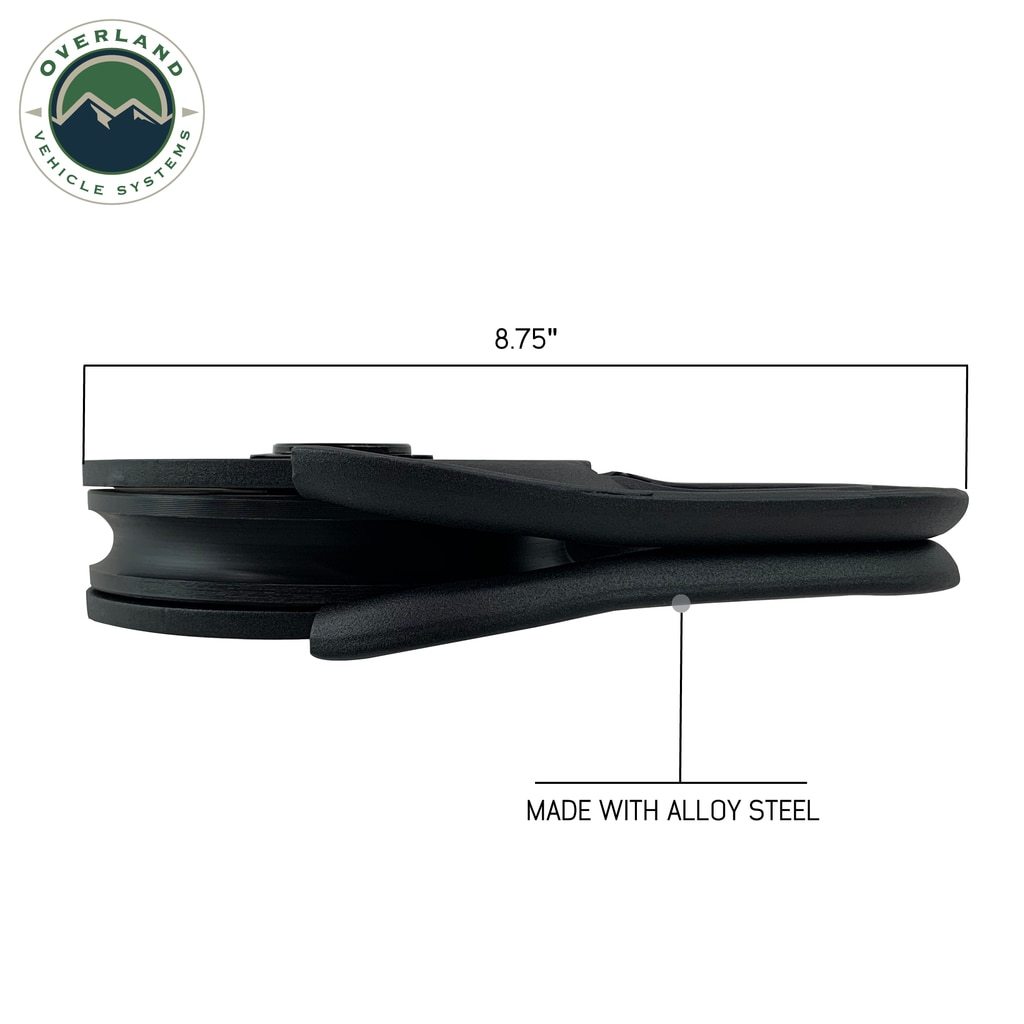 Overland Vehicle Systems Snatch Block Heavy Duty Matte Black Steel