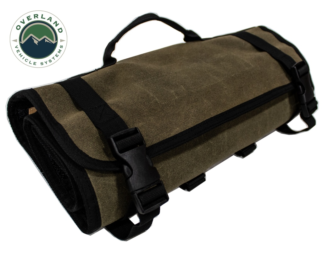 Overland Vehicle Systems First Aid Bag Rolled Brown 16 Lb Waxed Canvas Canyon Bag