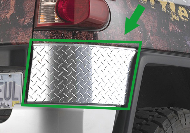 Warrior Products Diamond Plate Rear Corner Guards For 07-12 Toyota FJ Cruiser For Warrior Fenders