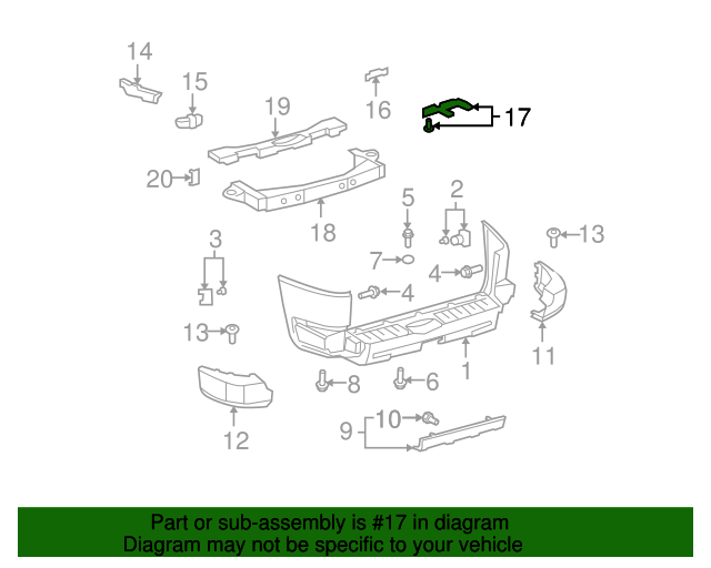 Rear Bumper Support Bracket - LEFT