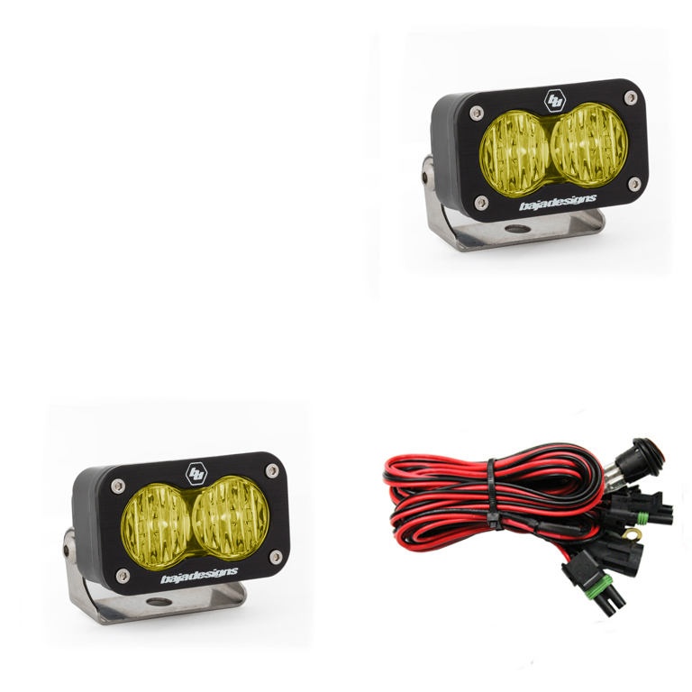 LED Work Light Amber Lens Wide Cornering Pattern Pair S2 Sport Baja Designs