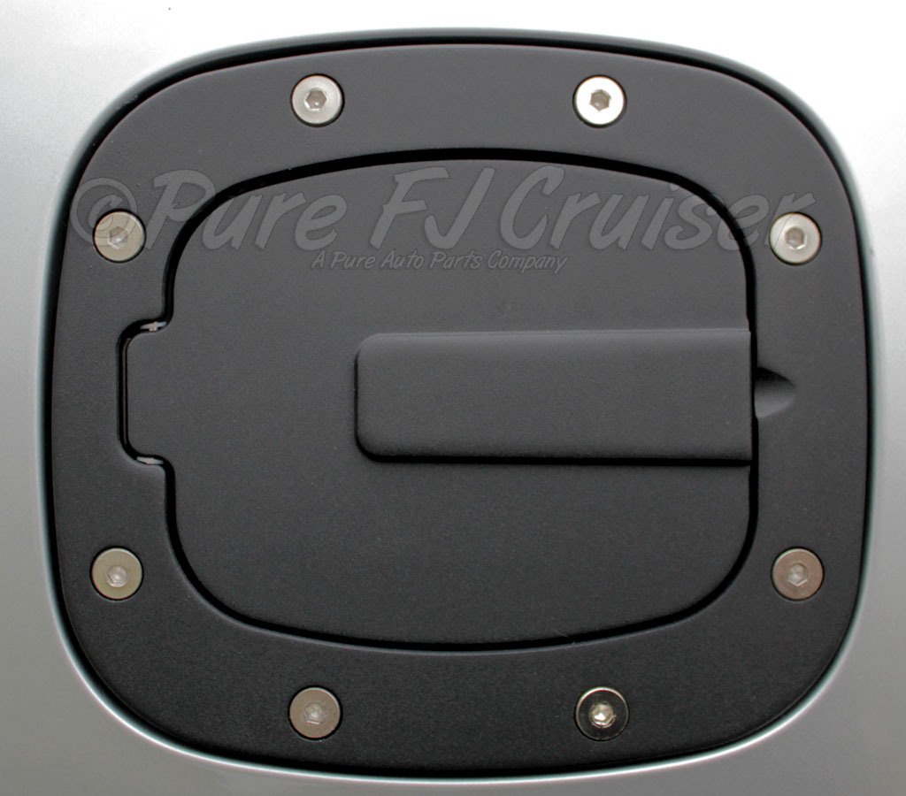Black Anodized Fuel Filler Door Cover, Aluminum; 07-14 FJ Cruiser