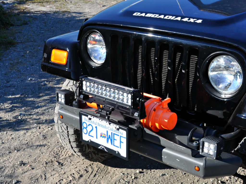 "Cascadia Flipster ""Lite"" - Fairlead Light Mount Integrated with Winch License Plate System"