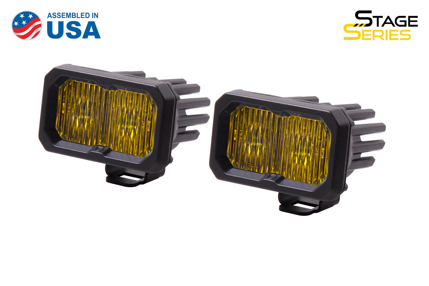 Diode Dynamics Stage Series 2 Inch LED Pod, Sport Yellow Fog Standard ABL Pair
