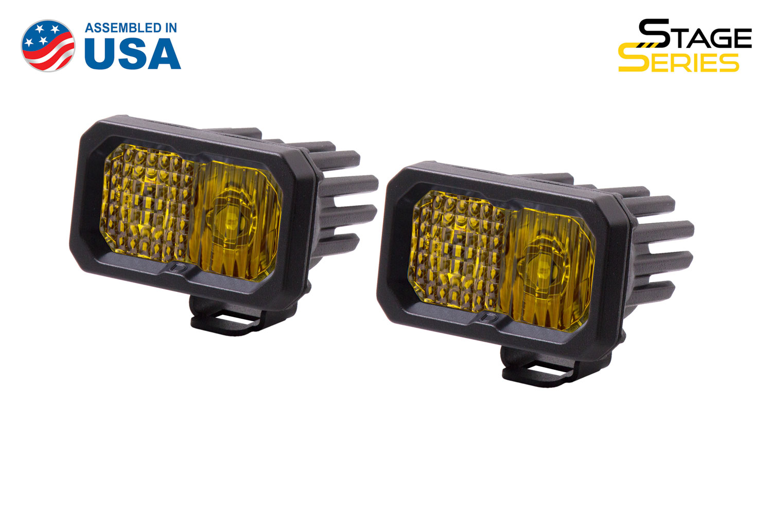 Diode Dynamics Stage Series 2 Inch LED Pod, Sport Yellow Combo Standard ABL Pair