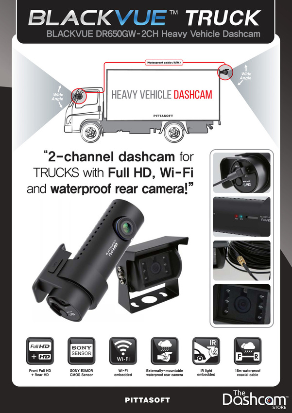 BlackVue 1080p Dual-Lens WiFi Dashcam w/ Waterproof Rear Lens