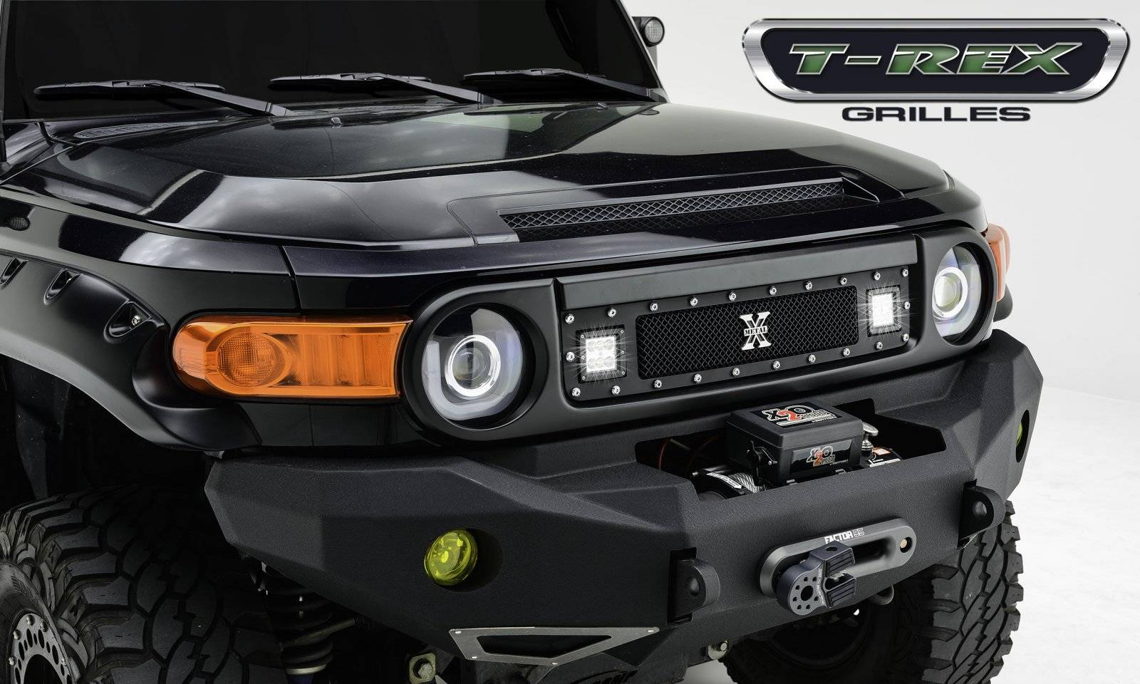 "T-Rex Toyota FJ Cruiser - TORCH Series *FULL BLACK* LED Light Grille 2 - 3"" Cube LED Lights, Formed Mesh Grille, 1 Pc, Black Powdercoated 2007+ -Ships Free"