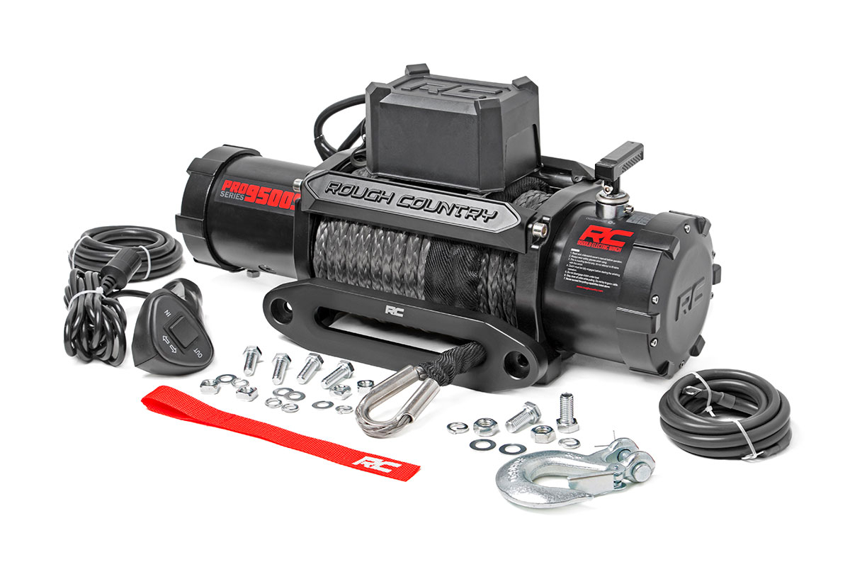 Rough Country 9500LB Pro Series Electric Winch | Synthetic Rope FREE SHIPPING