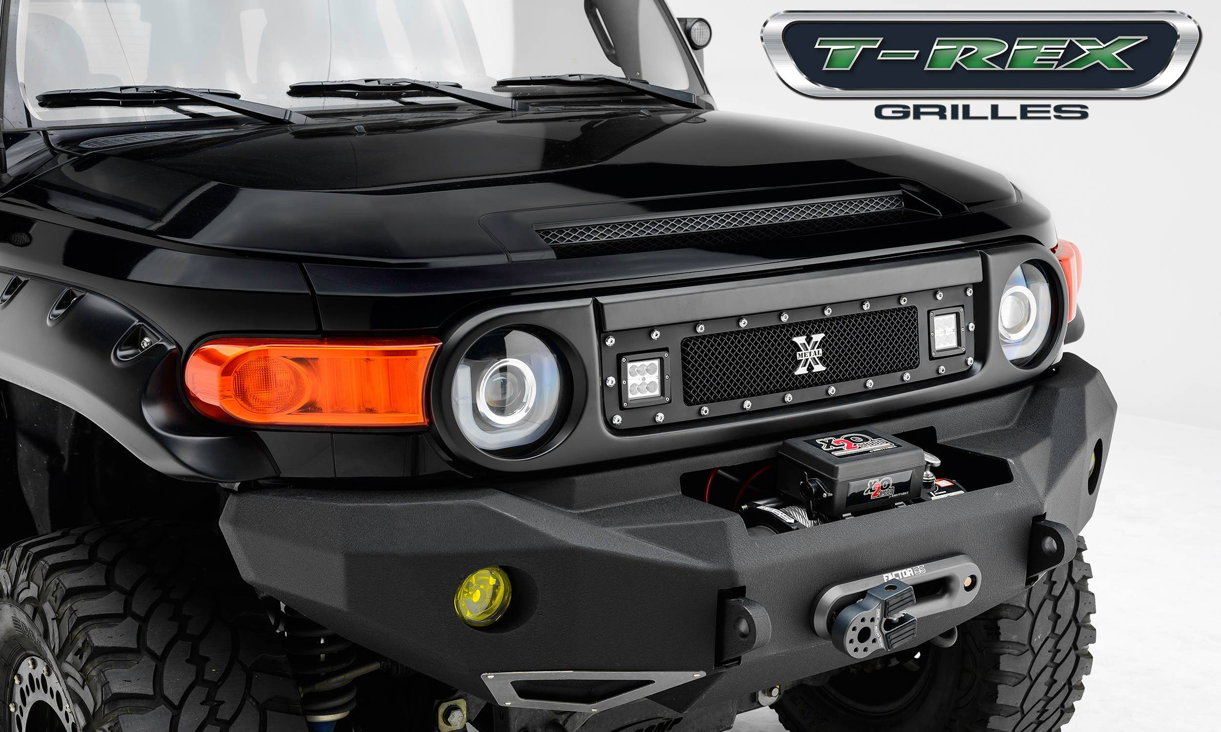 "T-Rex Toyota FJ Cruiser - TORCH Series LED Light Grille 2 - 3"" Cube LED Lights, Formed Mesh Grille, 1 Pc, Black Powdercoated 2007+ -Ships Free"