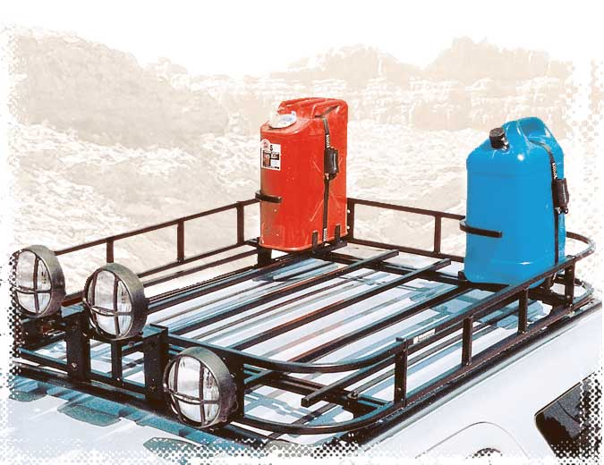 Roof Rack Mounted Gas or Water Can Holders