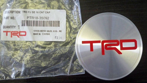 TRD Center Cap for TRD wheels #PTR18-35090 and PTR18-35090-BR.