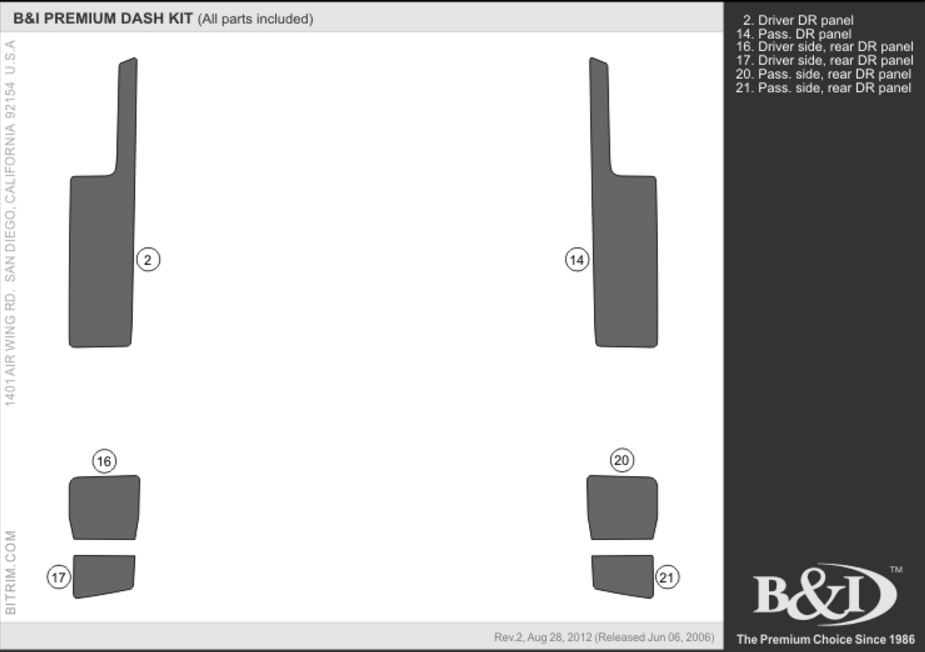 B&I Premium FJ Cruiser Dash Kit (6 pcs upgrade)