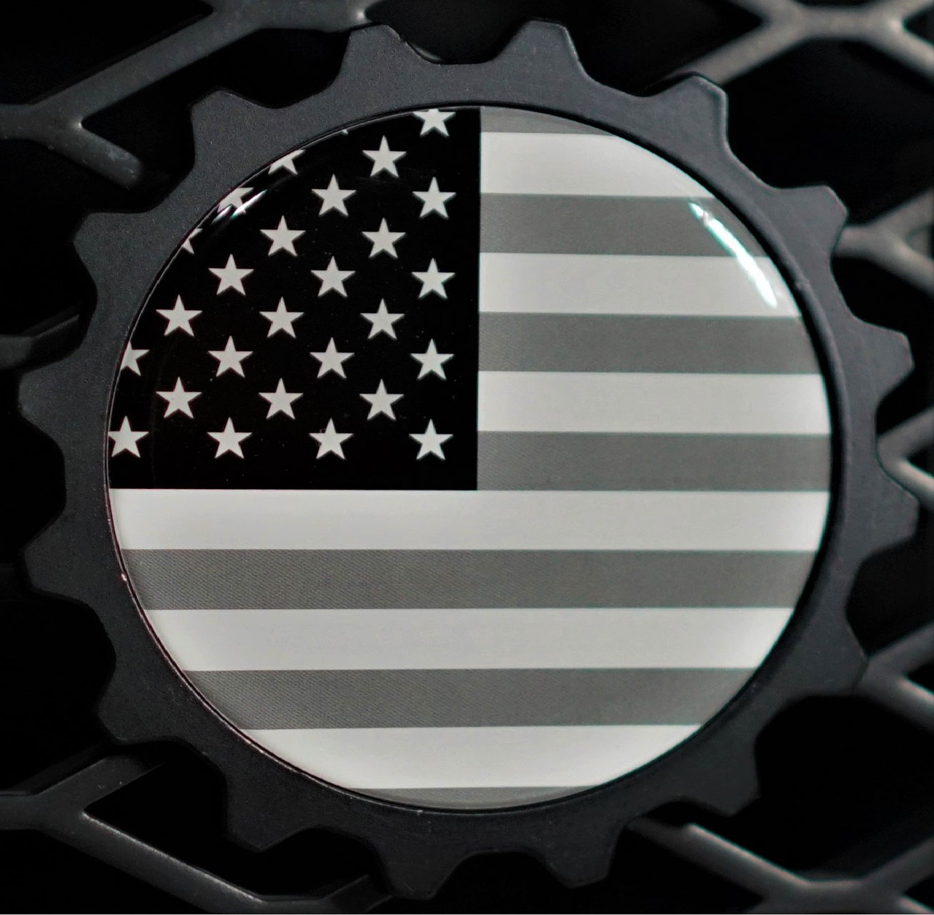 Black & White USA Flag Badge